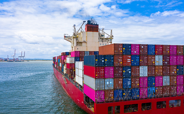Container Ship Heading to Port