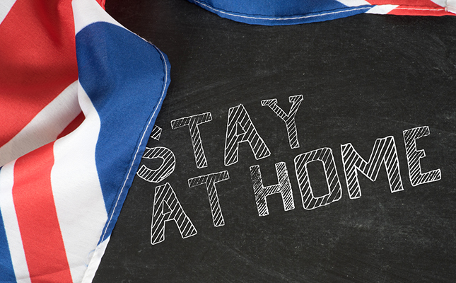 UK Flag Stay at Home Sign