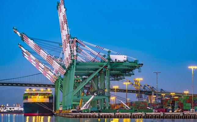 gantry cranes at port terminal