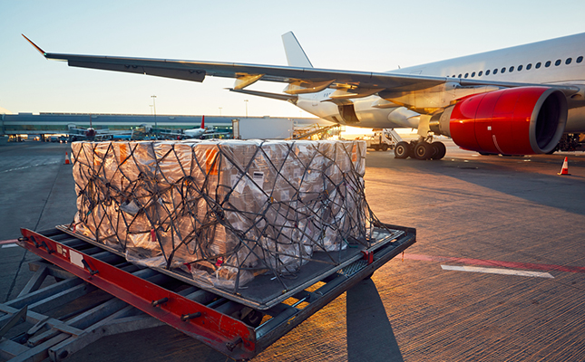 cargo outside an airplane before a flight