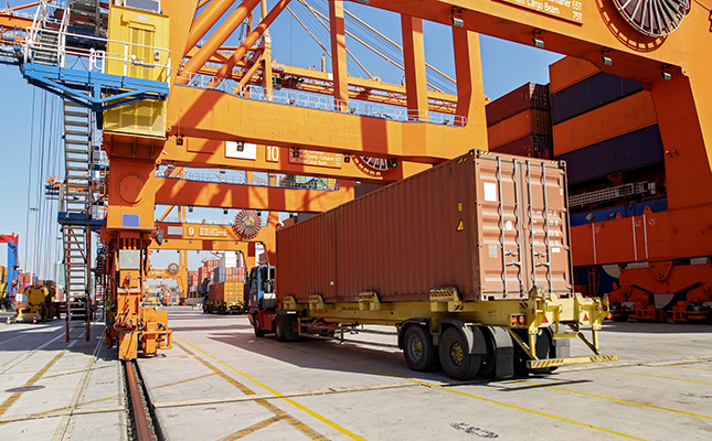 container truck loaded at port
