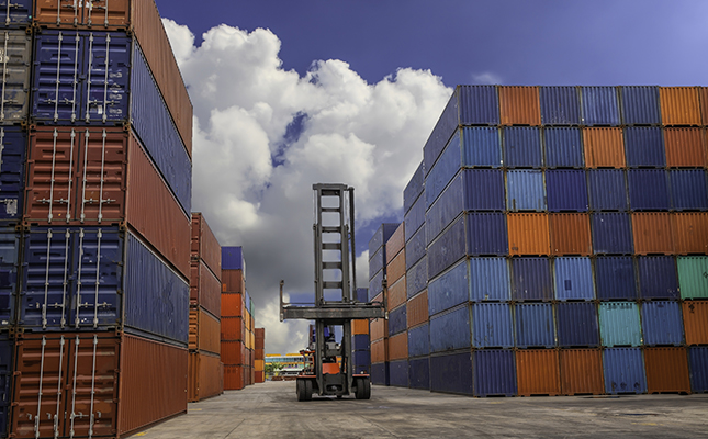 shipping containers in port